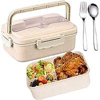 SunAurora Bento Box Lunch Box,Boîte à Repas Sûre et Étanche en Blé Naturel,1000 ML Boîte Bento et Couverts, pour Le…