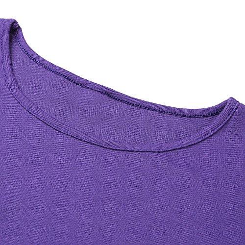 Donna Abito di cotone Camicia lunga scollo a Giro Vestito Orlo asimmetrico a maniche lunghe Sciolto e casuale Vestiti flessibili Primavera e autunno Multicolori Viola