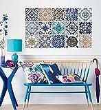 Adhesivos para Azulejos - Paquetes con 30 (10 x 10 cm, Baldosas Hidráulicas - Revestimiento para Paredes - Azulejos para Baño y Cocina - Impermeable - Decoración para Habitación - Fácil de Quitar - Hazlo tu Mismo)