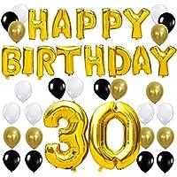 KUNGYO Letras Tipo Balón Doradas HAPPY BIRTHDAY+Número 30 Mylar Foil Globo+24 Piezas Negro Oro Blanco Globo de Látex- Perfecta 30 Años de Antigüedad Fiesta de Cumpleaños Decoraciones