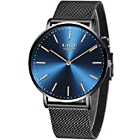 LIGE Ultra-Thin Mens Watches Unisex Waterproof Sport Stainless Steel Mesh Wrist Watch Gents Fashion Simple Analogue Watches for Woman …