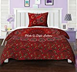Twin Cotton Indisch Mandala Bettbezug Bettwäsche Set Gedruckt Pfau Auge Floral Red Duvet Cover Von Stylo Kultur