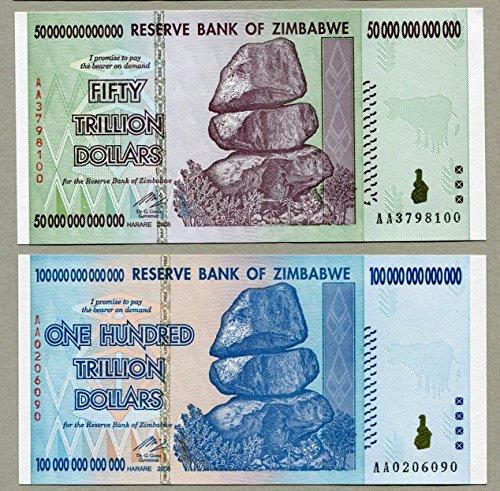 Trillion Dollar Pair Zimbabwe - 50 Trillion & 100 Trillion Dollar Notes by Shipodin
