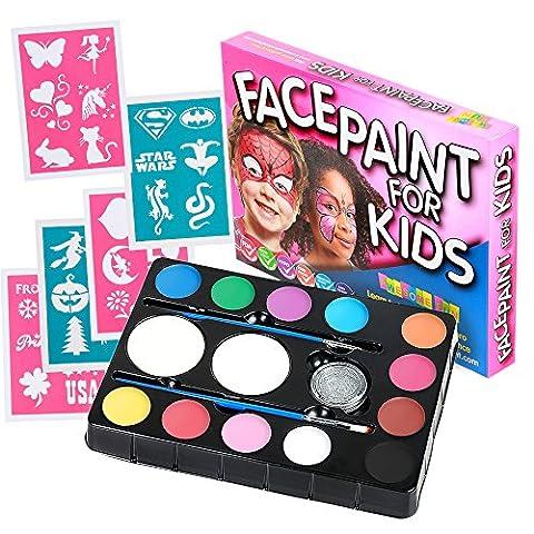 Face Paint Kit for Kids (47 Pieces) 12 Colour Palette: 30 Stencils, 2 Brushes, 2 Sponges, 1 Glitter. Best Quality Professional Face Painting Party Set. Safe Non-Toxic, Boys & Girls. Free Online