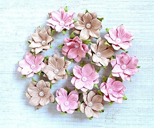 Papier Blumen mit Perle-Pink Blush-14Stück (Blush Pink Papier-blumen)