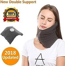 2018 Upgraded Travel Neck Support Kissen, Evolution Airplane Travel Kissen Memory Foam Doppel Unterstützung Portable & Machine Washable Grey