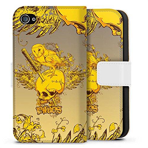 Apple iPhone X Silikon Hülle Case Schutzhülle Schädel Eule Tattoo Sideflip Tasche weiß