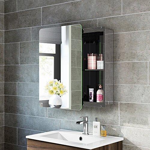 soak Moderner Spiegelschrank aus Edelstahl für das Badezimmer – Badschrank mit Spiegel – 66 x 46 cm, eine Schiebetür, einfache Montage