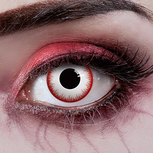 n Farblinsen Zombie Kontaktlinsen für Halloween - Farbige Kontaktlinsen ohne Stärke - Weiche Kontaktlinsen - deckend weiß ()