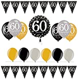 Feste Feiern Geburtstagsdeko Zum 60. Geburtstag I 14 Teile All-In-One Set Folienballon Luftballon Wimpelkette Gold Schwarz Silber Party Deko Happy Birthday