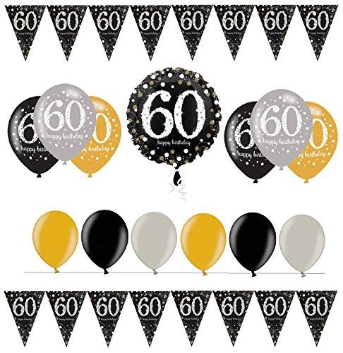 Feste Feiern Geburtstagsdeko Zum 60 Geburtstag I 14 Teile Folienballon Ballon Wimpelkette Gold Schwarz Silber Party Deko Set Alles Gute (60 In Runde Tisch)
