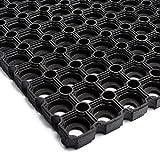 Technikplaza Safety - Schwarze Ringmatte XXL - 1 Stück - Fußmatte - Schmutzfangmatte - Antirutschmatte - Gummimatten - Fallschutzmatten - Fußabtreter - Gummi Fußmatten - Wabenmatten