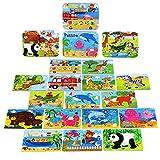 BBLIKE Holzpuzzle Spielzeug für Kinder ab 3 Jahren Alt, 224 Stücke Puzzles aus Holz in 4 Metallkoffer Box, Unterschiedlichen Schwierigkeitsgrad Lernspielzeug Werkzeug