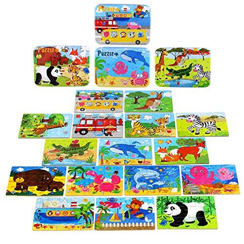 BBLIKE Kinderpuzzles Spielzeug für Kinder ab 3 Jahren Alt, 224 Stücke Puzzles in 4 Metallkoffer Box, Unterschiedlichen Schwierigkeitsgrad Lernspielzeug Werkzeug