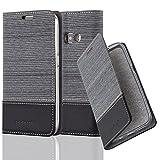 Cadorabo Hülle für Samsung Galaxy J1 2016 (6) - Hülle in GRAU SCHWARZ – Handyhülle mit Standfunktion und Kartenfach im Stoff Design - Case Cover Schutzhülle Etui Tasche Book