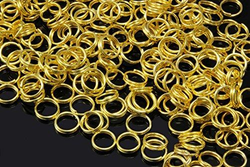 INWARIA Spaltringe Ø 4/5/6/7/8/9mm Spiralringe Doppel Ringe Binderinge Ösen Biegeringe (5mm - 100 Stück, Goldfarben)