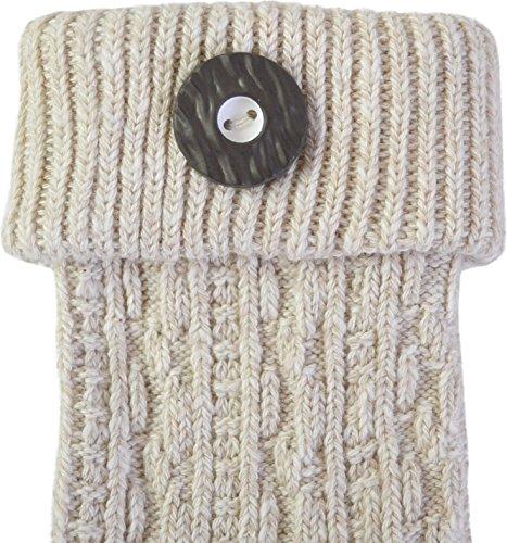 normani Trachten-Umschlagsocken im Landhaus-Stil - mit aufwändiger Applikation Farbe Naturmelange mit Trachten-Knopf Größe 47/50 - 3