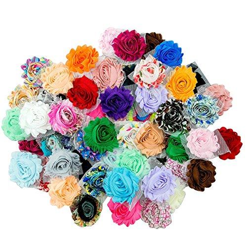 50 Stück Chiffon Blume Cluster Blumen Shabby Chic Stoff Rose Trimmen Blumen für DIY Bridal Zubehör -