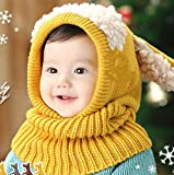 swall owuk hiver bébé enfants jeunes filles écharpe à capuche Chapeaux Caps jaune jaune