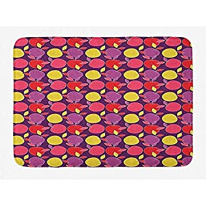JHDF Apple Bath Mat Natural Leafy Colorful Fruits Fresh and Healthy Elements in Cartoonish Bathroom Decor with Non Slip Backing 40 * 60cm Plum and
