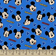 Mickey Mouse Tissu–Sc127Mickey Mouse visages Tissu Bleu–Disney, la bande dessinée Tissu–0.5m multiple–100% coton