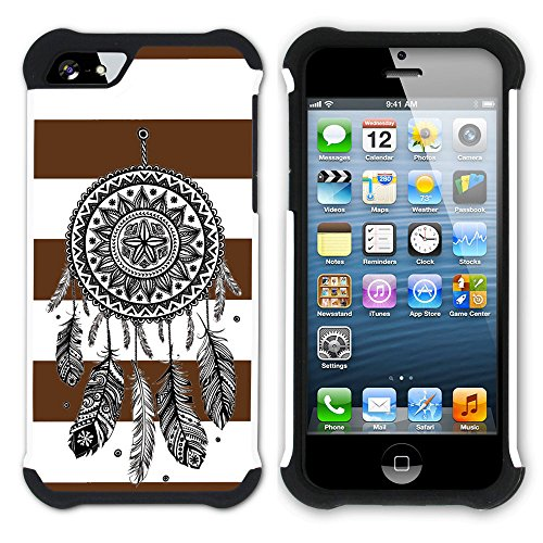 Graphic4You Traumfänger Linien Muster (Wasserblau) Hart + Weiche Kratzfeste Hülle Case Schale Tasche Schutzhülle für Apple iPhone SE / 5 / 5S Braun
