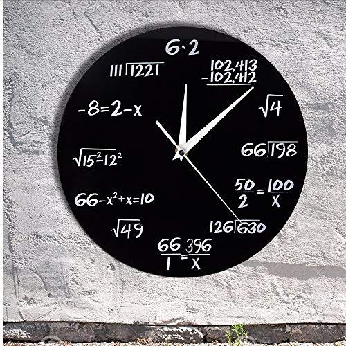 Asbjxny Technik-Zahlen Mathe-Wanduhr-Mathe-Gleichung Dekorative Uhr-Pop-Quiz-Wandkunst-WissenschaftFür Mathe-Aussenseiter Und Lehrer12Inch