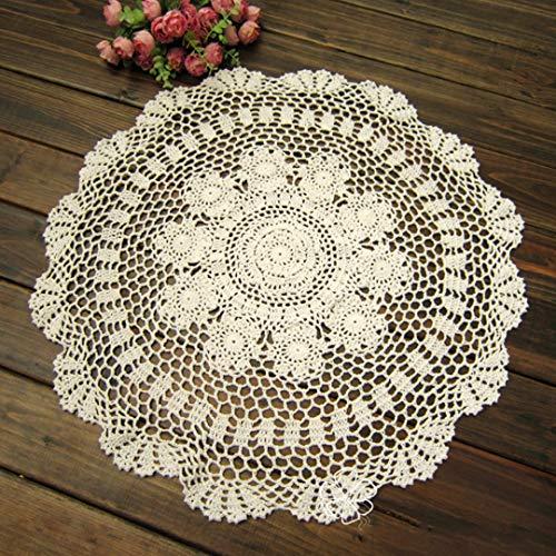 NaroFace Geklöppelte Deckchen Baumwolle Spitzendeckchen Rund Handarbeit Placemat,50 cm/20 Zoll (Weiß) -
