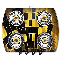 Pigeon Spark Series Oval Matrix Full Size 4 Burner Gas Stove - Exclusive Designer Series of Pigeon