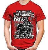 Verrückter Papa Wikinger Männer und Herren T-Shirt | Odin Sleipnir Germanen Walhalla Zitate ||| (XXL, Rot)