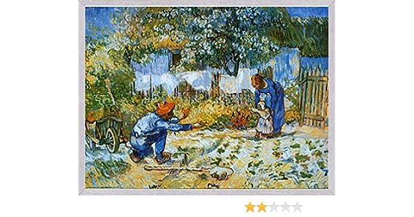 1art1 Vincent Van Gogh Poster Reproduction et Cadre Les Premiers Pas MDF Aluminium Bross/é 80 x 60cm