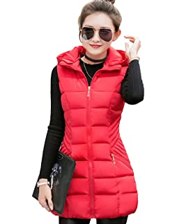 b38f6edeedc2f8 Yiiquan Damen Lang Ärmellos Jacke Outwear Freizeit Padded Warm Steppweste  Elegant