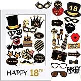 VINFUTUR Accessoires de Photomaton 18ème Anniversaire 35pcs Unisexe Funny Masquerade Kit Photobooth + Cadre Photocall pour la Décoration d'anniversaire DIY...