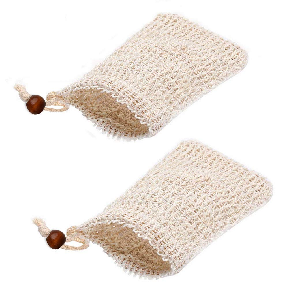 Leful 2 pcs Soap Bag, Natural Organic Soap Bag Exfoliating Soap Saver with Drawstring for Foaming, Drying Soaps, Exfoliation