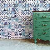 Walplus Wandaufkleber ablösbar selbstklebend Wandkunst Aufkleber Vinyl Wohndeko DIY Wohnzimmer Schlafzimmer Küche Dekor Tapete Geschenk Englisch Spruch klassisch blau Kachel - 20 cm x 20 - 12 Stück