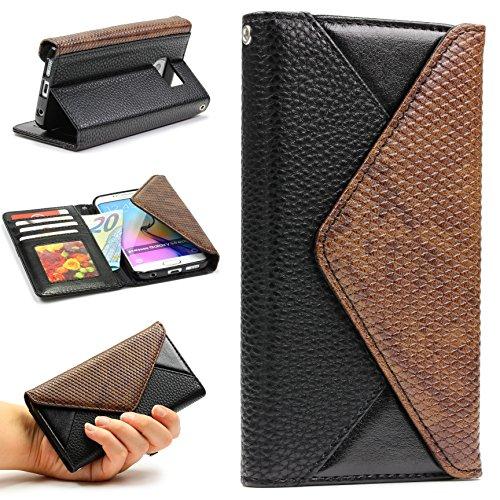 Custodia portafoglio Galaxy S6 Edge - [ Croco Wallet - Original Urcover® ] - Ecopelle | Clip magnetica | Slot Card | Flip Cover | Case | Custodia protettiva per Samsung Galaxy S6 Edge [ Nero ] - Protezioni Foglio Orizzontale