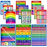 Lot de 12 affiches éducatives colorées pour enfants - Tableau de temps - Poster alphabet - poster ABC - Fournitures éducatives - Yeux