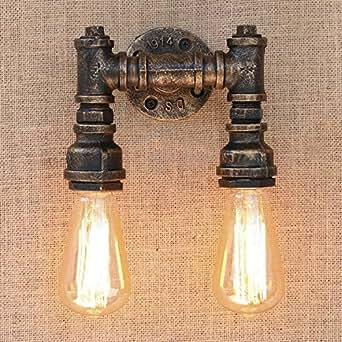 baycheer industrie wandlampe editon beleuchtung wandleuchte 2 knoepfe steampunk lampe eisen rohr. Black Bedroom Furniture Sets. Home Design Ideas