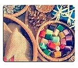 MSD Tapis de souris Image 34002371résistance aux taches kit de cuisine Dessus de table Desk C Impressionnante coloré Cadeau de Noël et panier de pommes de pin en matériau de décoration pour Noël 8482