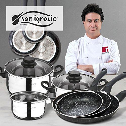 San Ignacio Coopper batería de Cocina de 5 Piezas y Set 3 sartenes 16/20/24 cms, Acero Inoxidable, Cromado, diámetro
