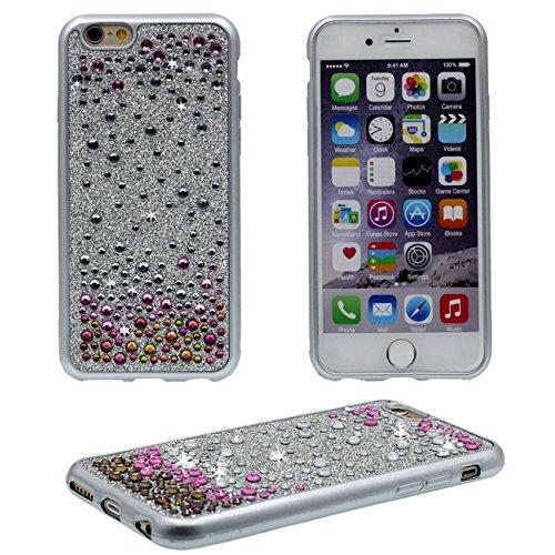 iPhone 6S Plus Coque Protection Case, Brillant Bling Cristal Couverture arrière Souple Plastique Très Mince Poids Léger Housse Protection pour Apple iPhone 6 Plus / 6S Plus 5.5 inch - Or argent