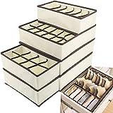 Evance Organiseurs de tiroir pour sous-vètements, Lot de 6 Boîte de Rangement Pliable Closet Organiseurs pour Soutien-Gorges,