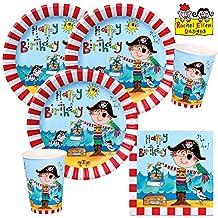 Piraten-Party Set B roter Pirat 52 Teile Kindergeburtstag Mottoparty Tischdeko