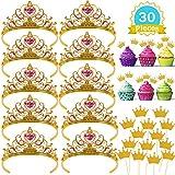 Casibecks Prinzessin Krone mädchen partyhüte Kinder kuchendeckel partydekorationen Tiara Gold 30 Stück