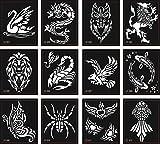 Tattoo Schablonen Vorlagen 12 Sheets für Glitter Tattoo und Air Brush Tattoo Spinne Skorpion Löwe Schmetterling und mehr