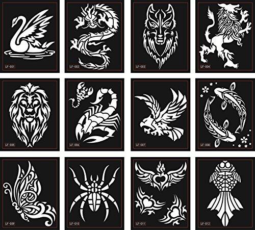 Tattoo stencil modelli 12sheets per glitter tattoo e air brush tattoo ragno scorpione leone farfalla e più