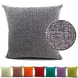 BIGU Federe per cuscini di Cotone Lino tinta unita Geometria Rettangolari Federa Cuscino Casa per Salotto per Divano Cuscini e federe 60x60cm Grigio