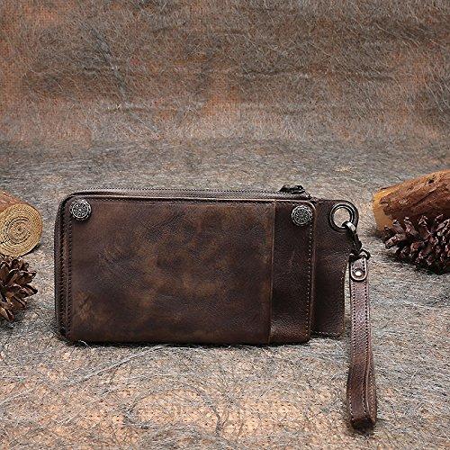 Mode nouvelle première couche original vintage en cuir sac d'embrayage loisirs fermeture éclair long bi-fold wallet hommes Bronze