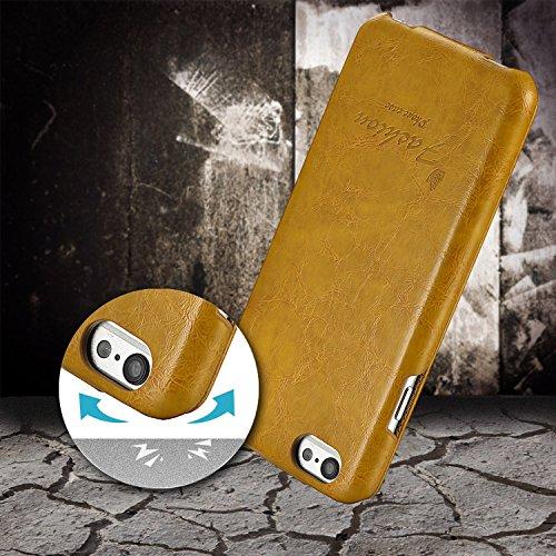 tinxi® premium PU Kunstleder Tasche Schutzhülle für Apple Iphone 6 6s(4,7 Zoll) Schutz Hülle Wallet Rückschale Etui Case Kartenfächer Cover mit Lanyard und Standfunktion in schwarz Gelb