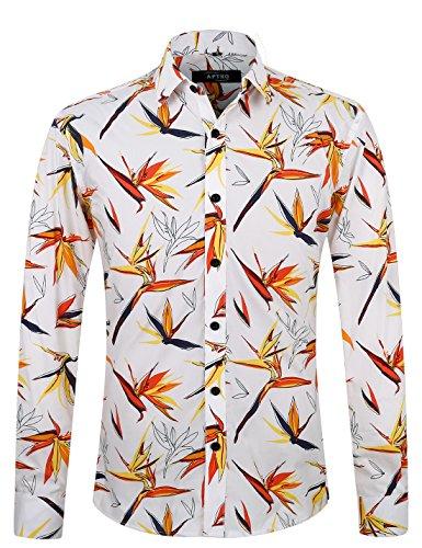 APTRO Fashion Herren Freizeit Baumwolle Mehrfarbig Langarm Shirt APT1016 L - Hawaii-blumen-muster-shirt